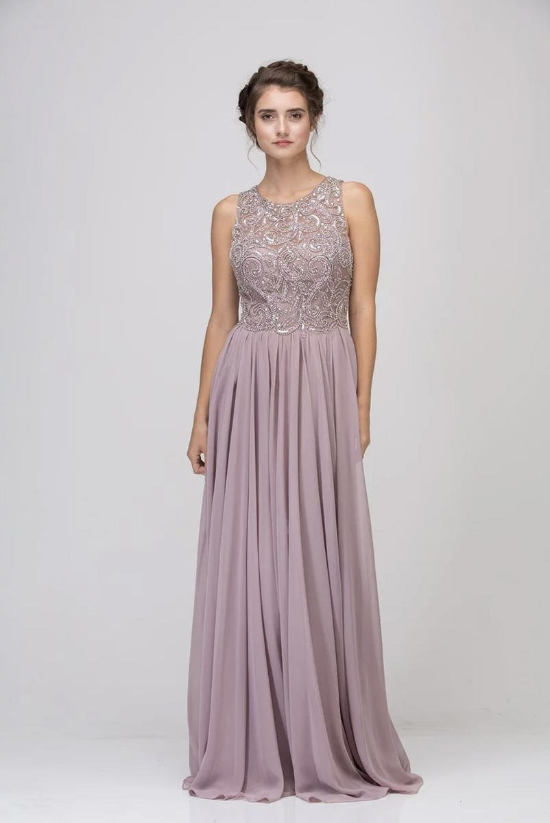 Fashion Eureka - Beaded Chiffon Illusion Gown