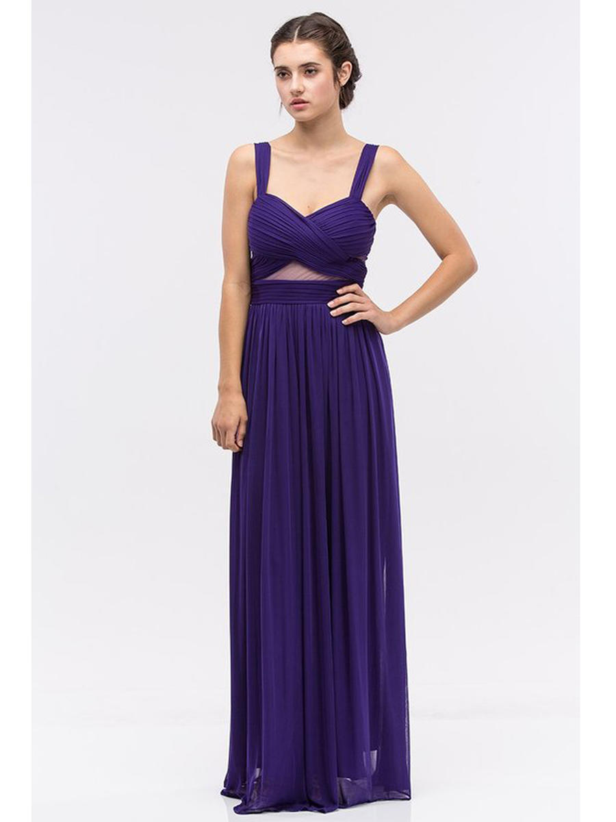 Fashion Eureka - Sleeveless Sheer Waist Net Jersey Gown