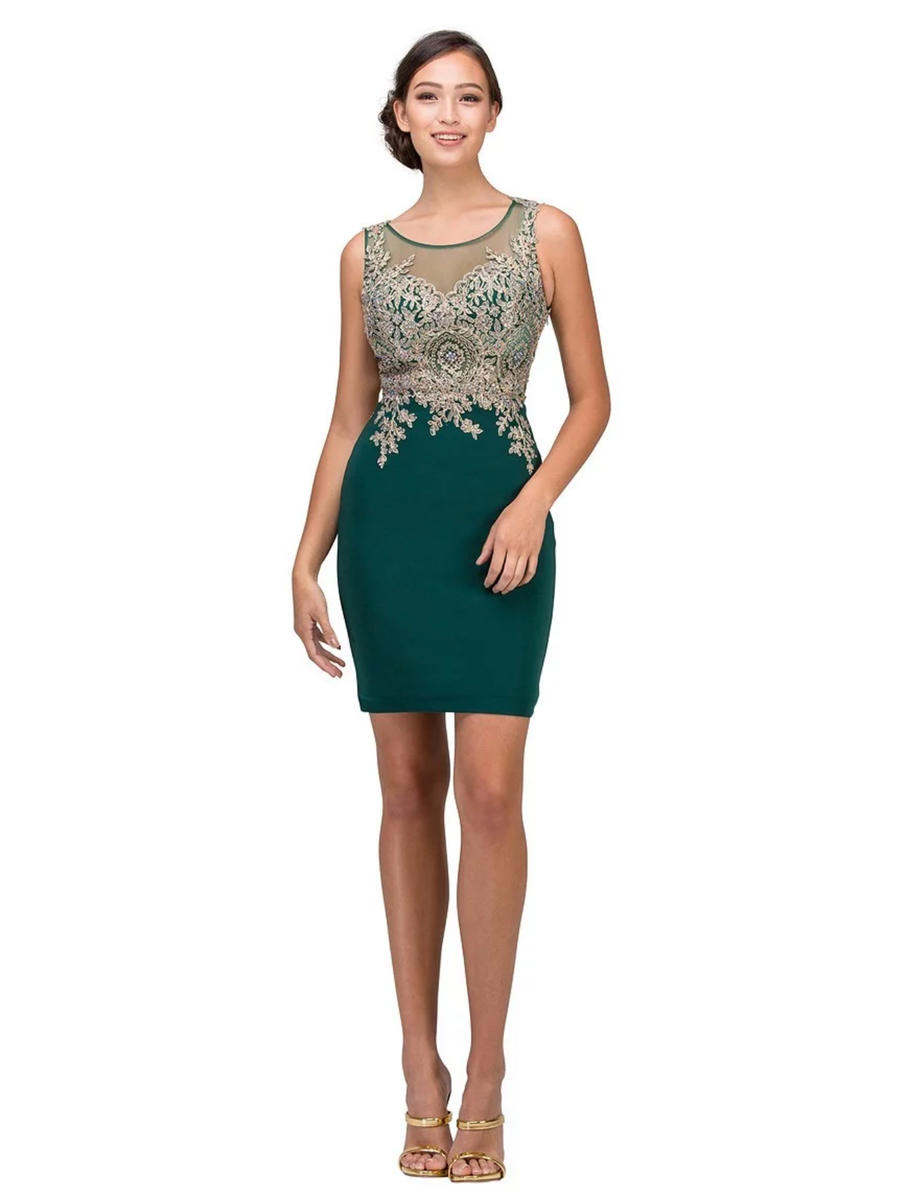 Fashion Eureka - Short Embellished Jersey Dress