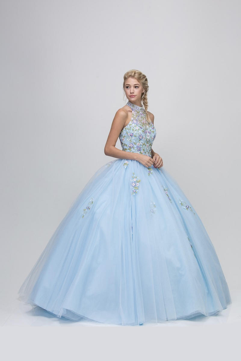 Fashion Eureka - Beaded High Neck Illusion Ball Gown