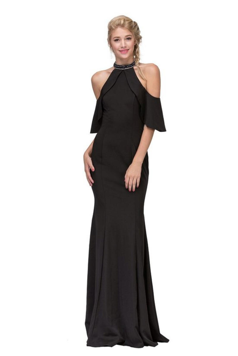 Fashion Eureka - Satin Gown Beaded Halter Gown With Scarf