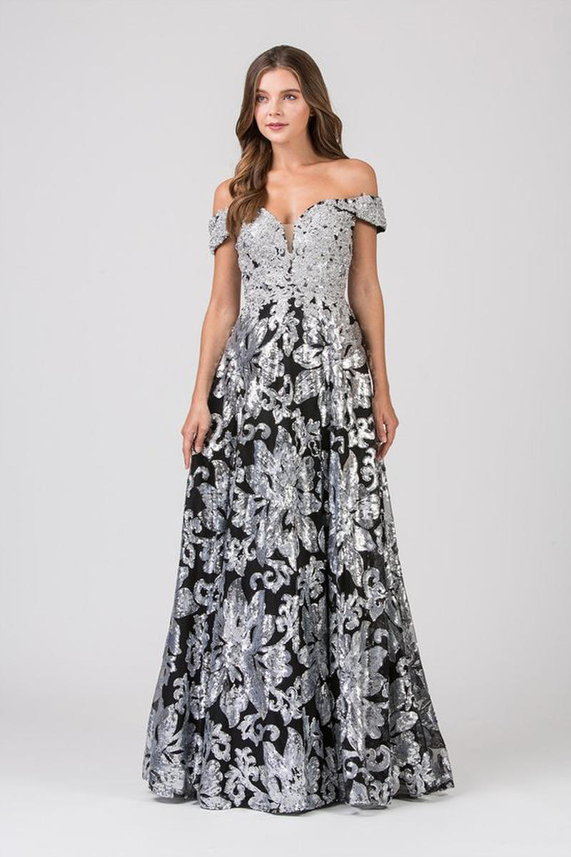 Fashion Eureka - Tulle & Sequin Off Shoulder Gown w/Shawl