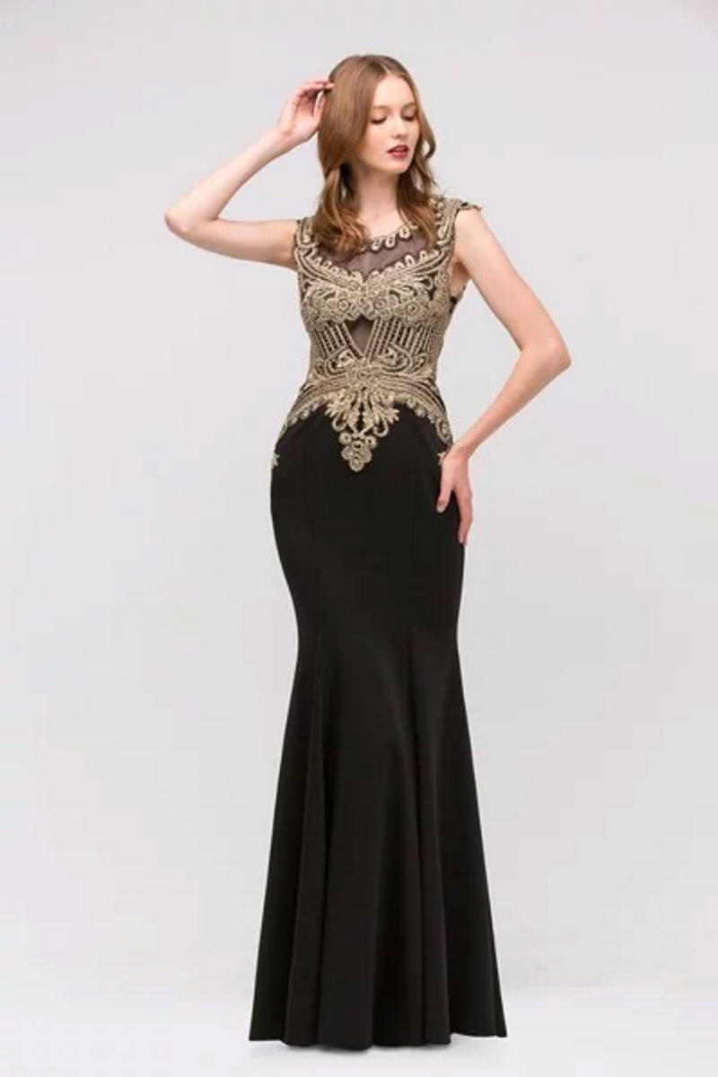 Fashion Eureka - Embroidered Satin Illusion Fit & Flare Gown