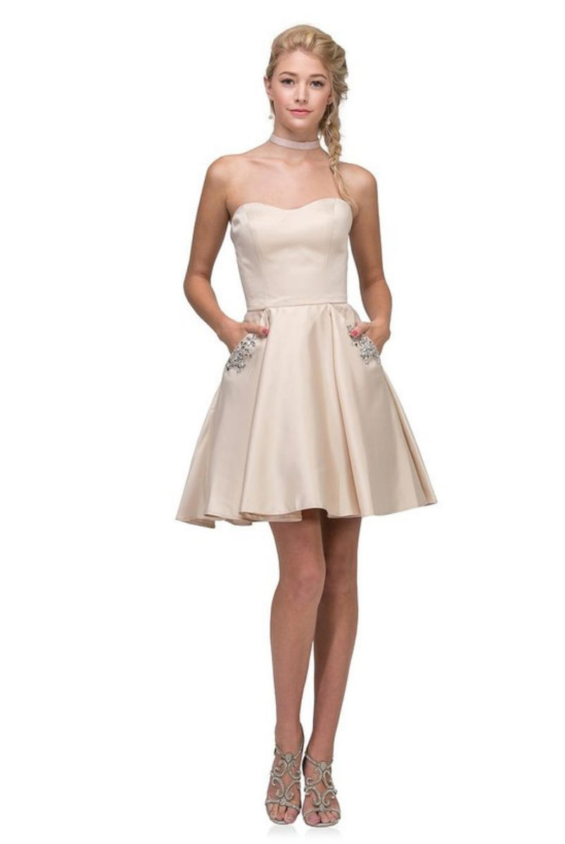 Fashion Eureka - Short Strapless Satin Fit & Flare Dress