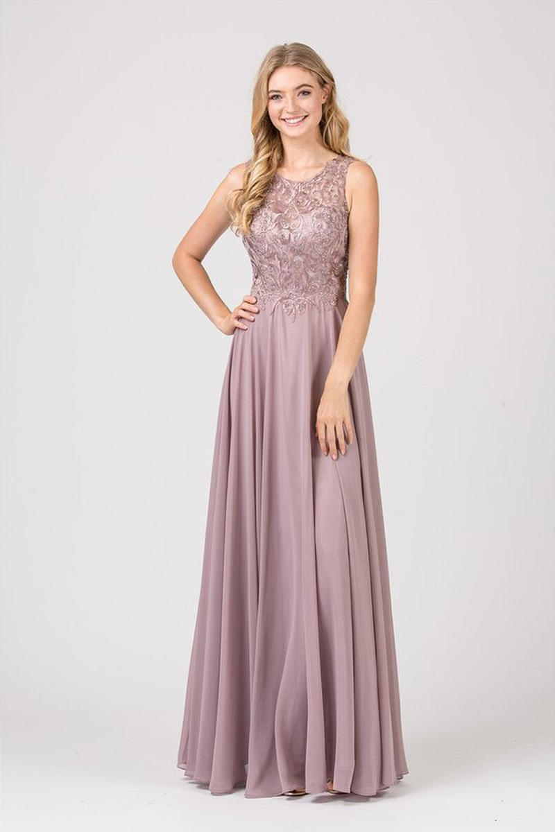 Fashion Eureka - Embroidered Illusion Neck Chiffon Gown