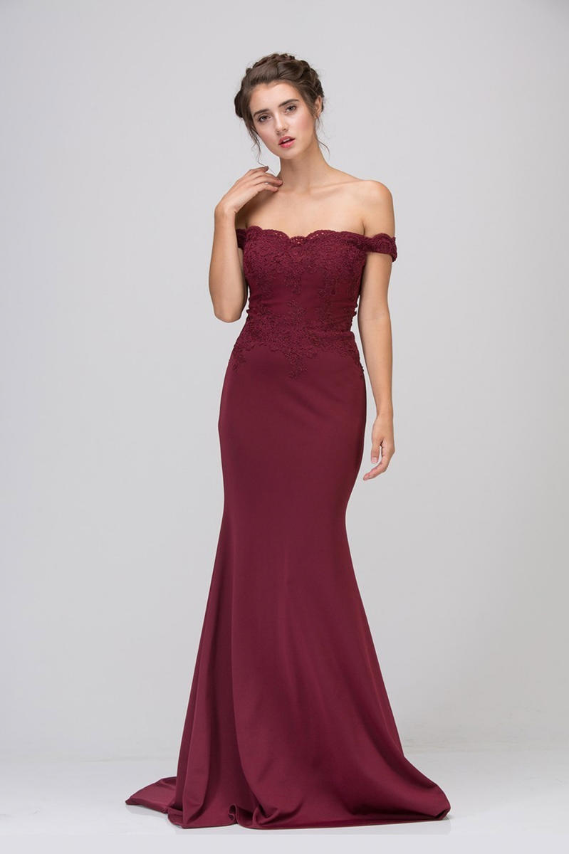 Fashion Eureka - Embroidered Off-the-Shoulder Jersey Gown