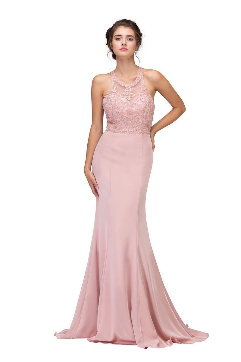 Fashion Eureka - High Neck Jersey Beaded Gown