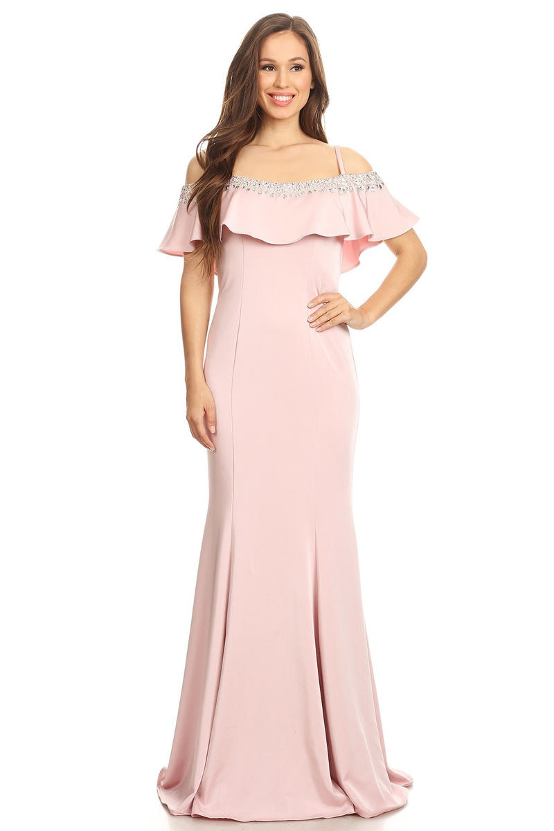 Fashion Eureka - Satin Gown Beaded Draped Bodice Off Shoulder