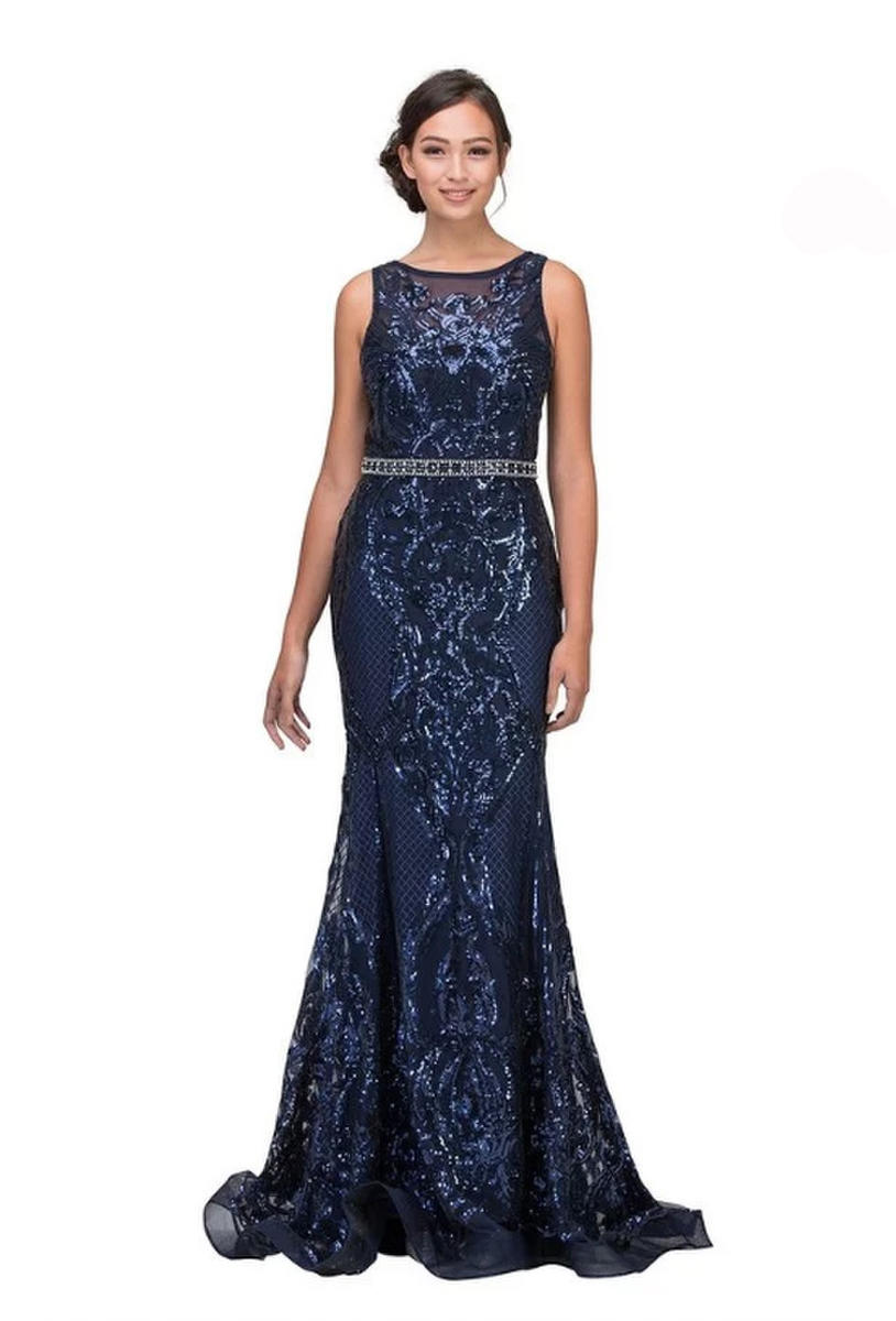 Fashion Eureka - Sequin Embroidered Beaded Waist Fit & Flare Gown