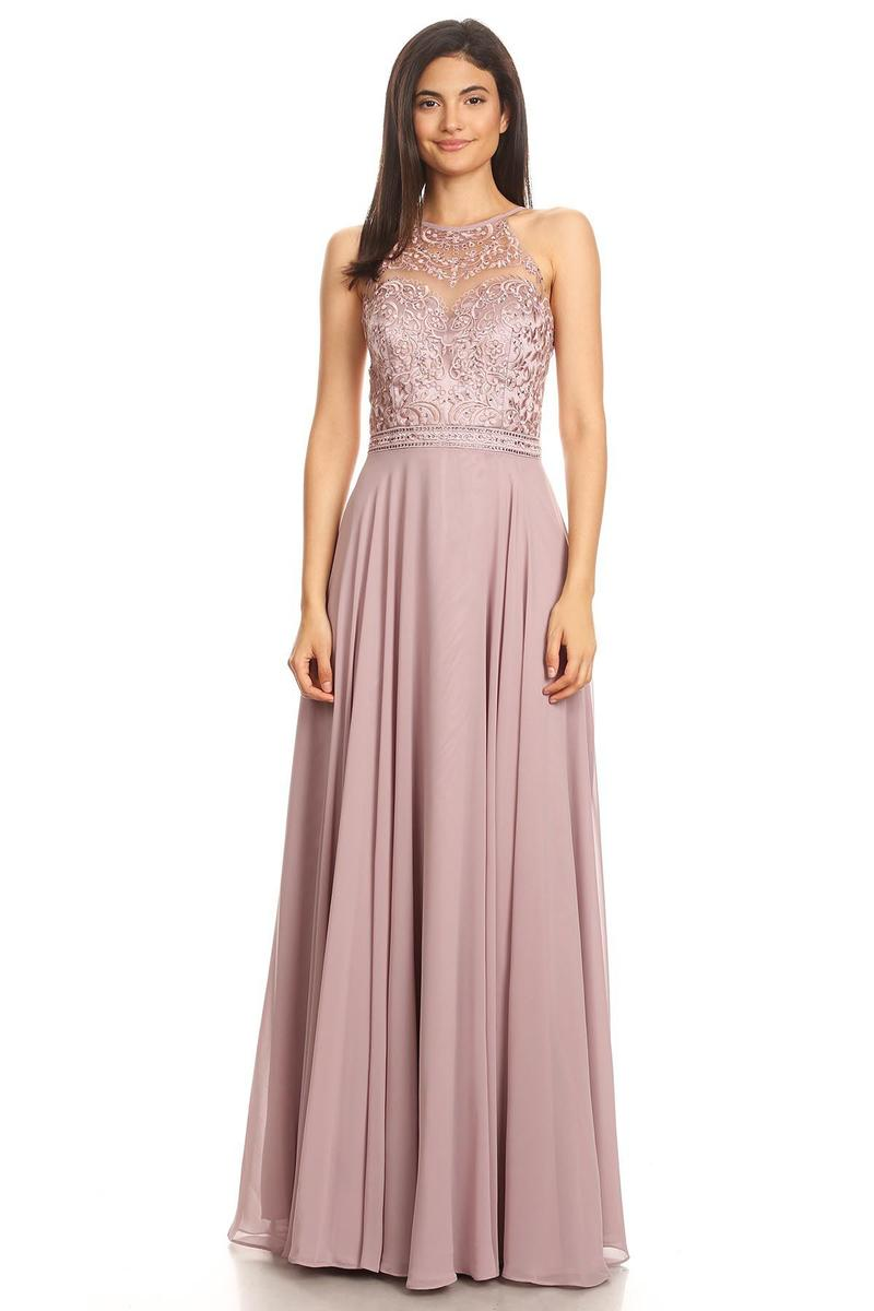 Fashion Eureka - Halter Chiffon Embroidered Gown