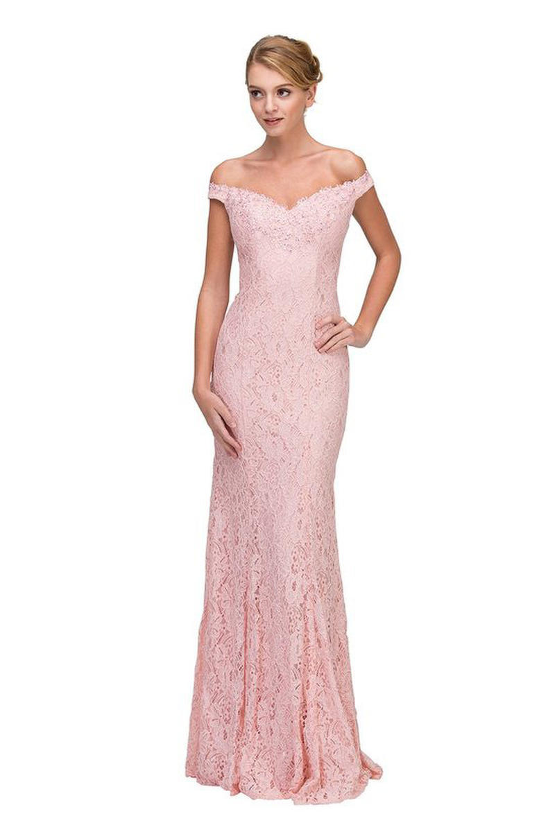 Fashion Eureka - Off Shoulder Lace Gown Rose Bodice