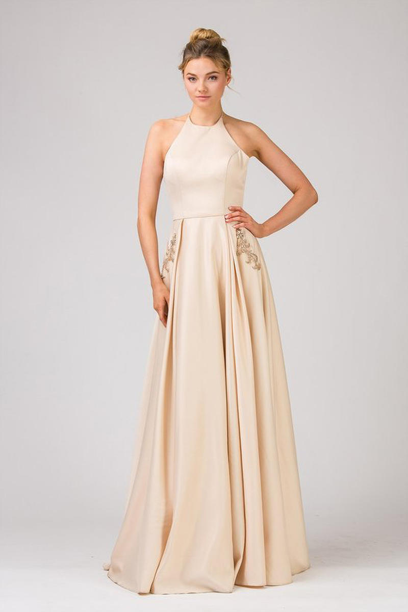 Fashion Eureka - Halter Neckline Satin Gown Embroidered Pockets