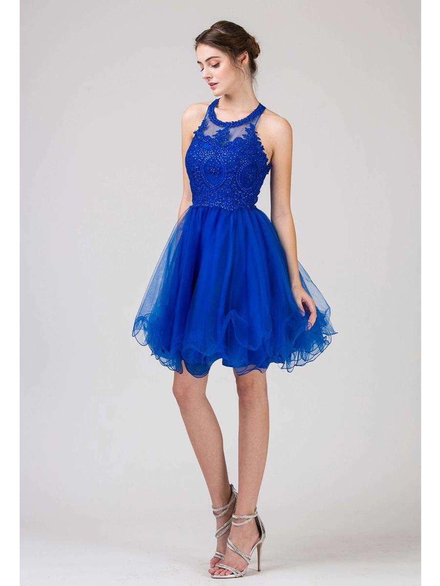 Fashion Eureka - Tulle Dress Embroudered Bodice Halter Neckline