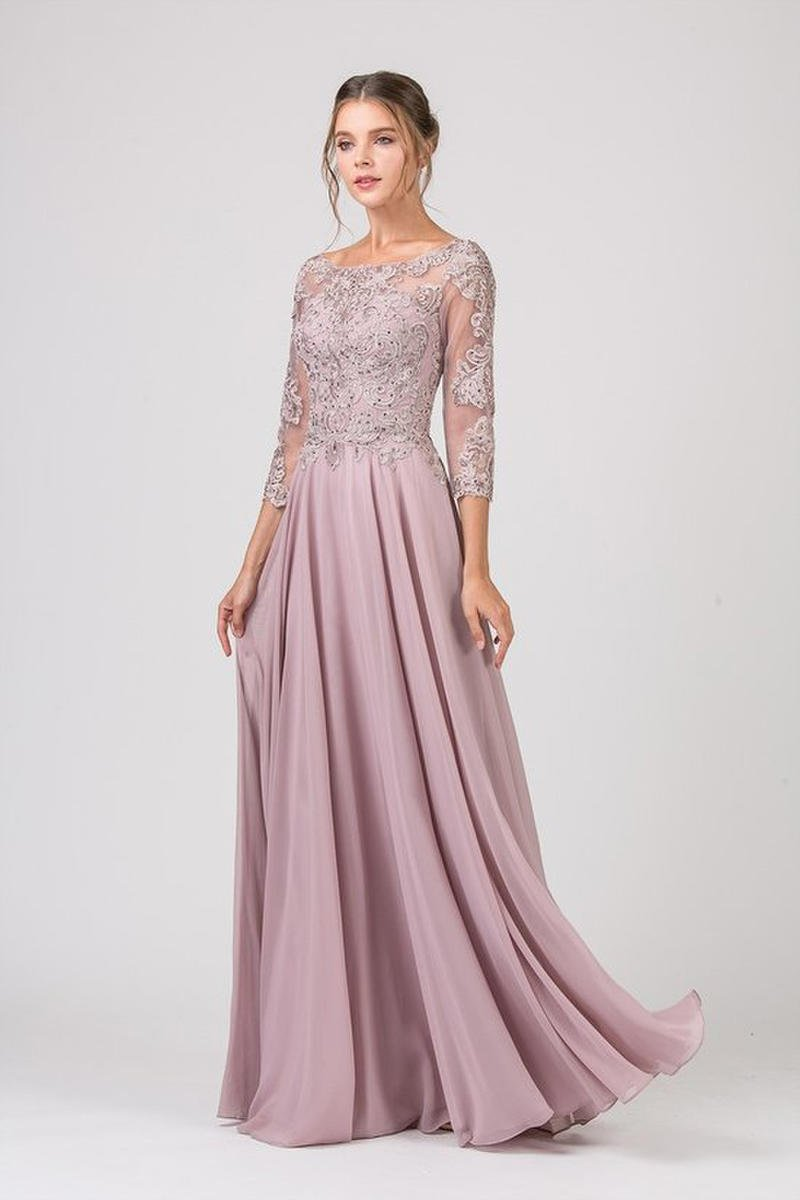 Fashion Eureka - Jersey Long Sleeve Embroidered Beaded Bodice Gown