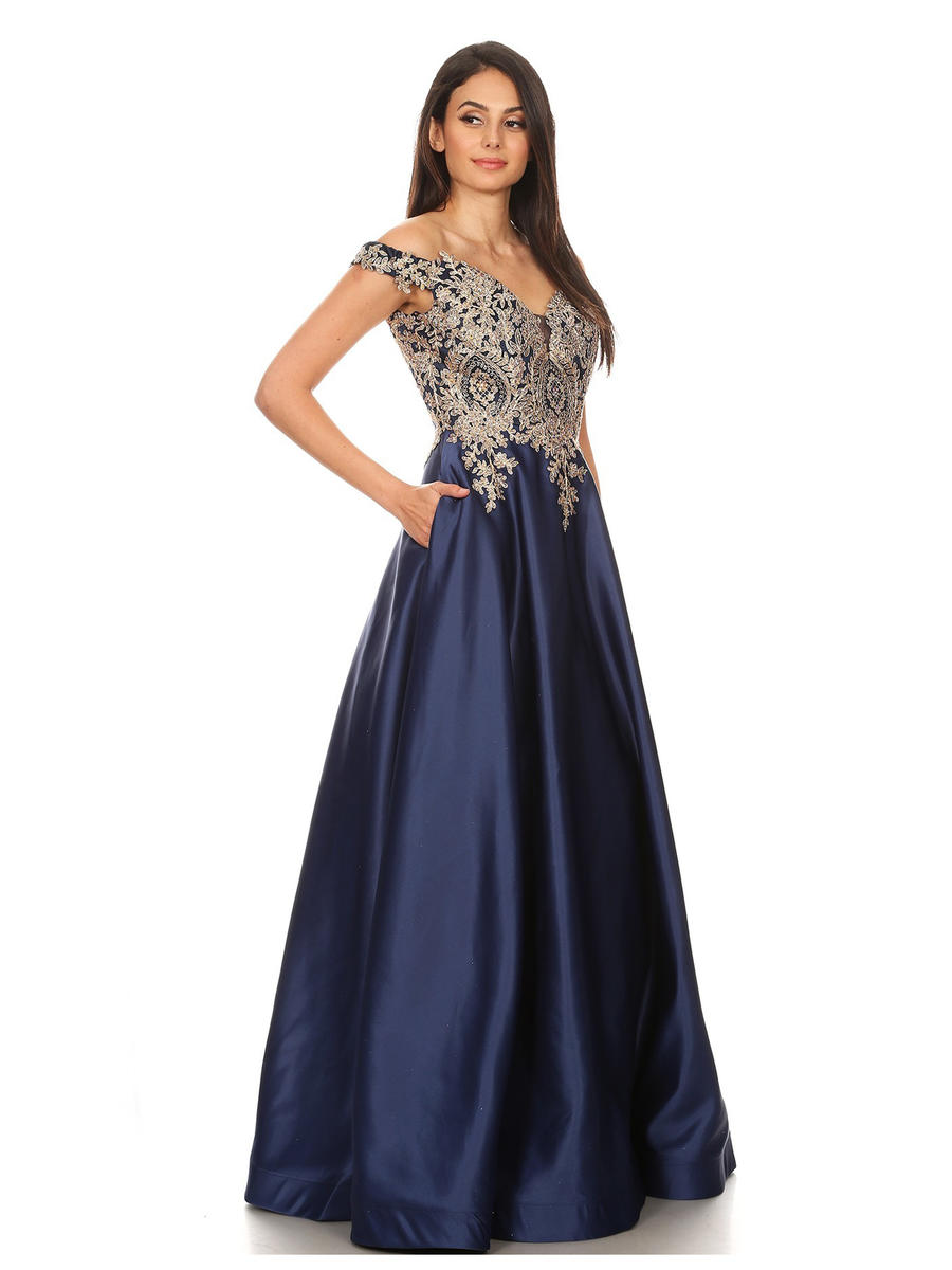 Fashion Eureka - Satin Gown-Embroidered Bodice