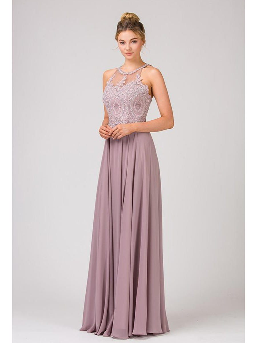 Fashion Eureka - Chiffon Gown-Embroidered Bodice