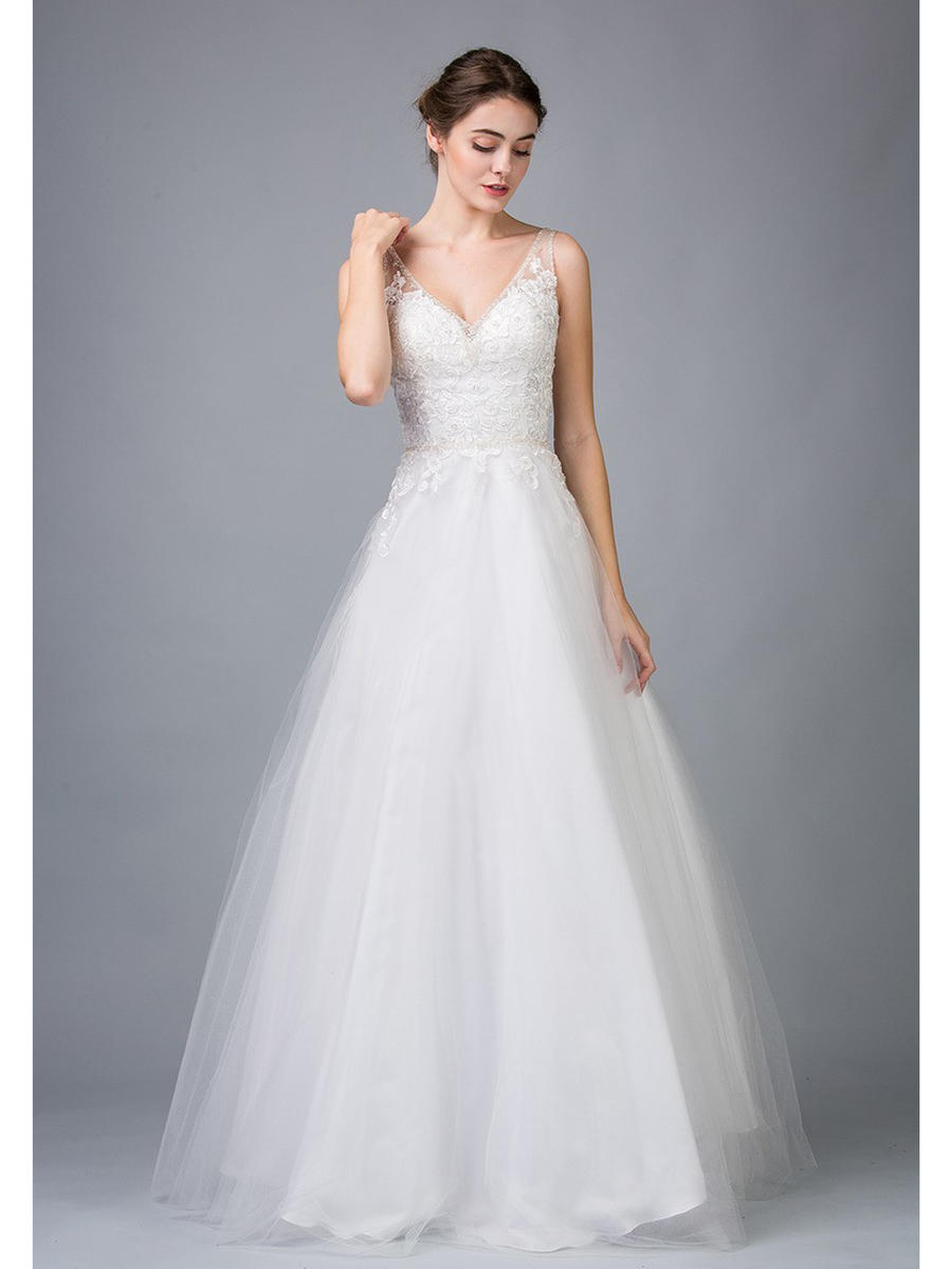 Fashion Eureka - V-Neck Lace Bodice Bridal Gown