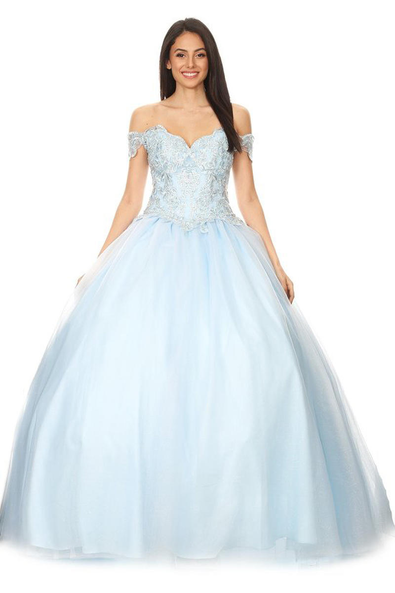 Fashion Eureka - Tulle Ballgown Off The Shoulder Embroidered Bodice