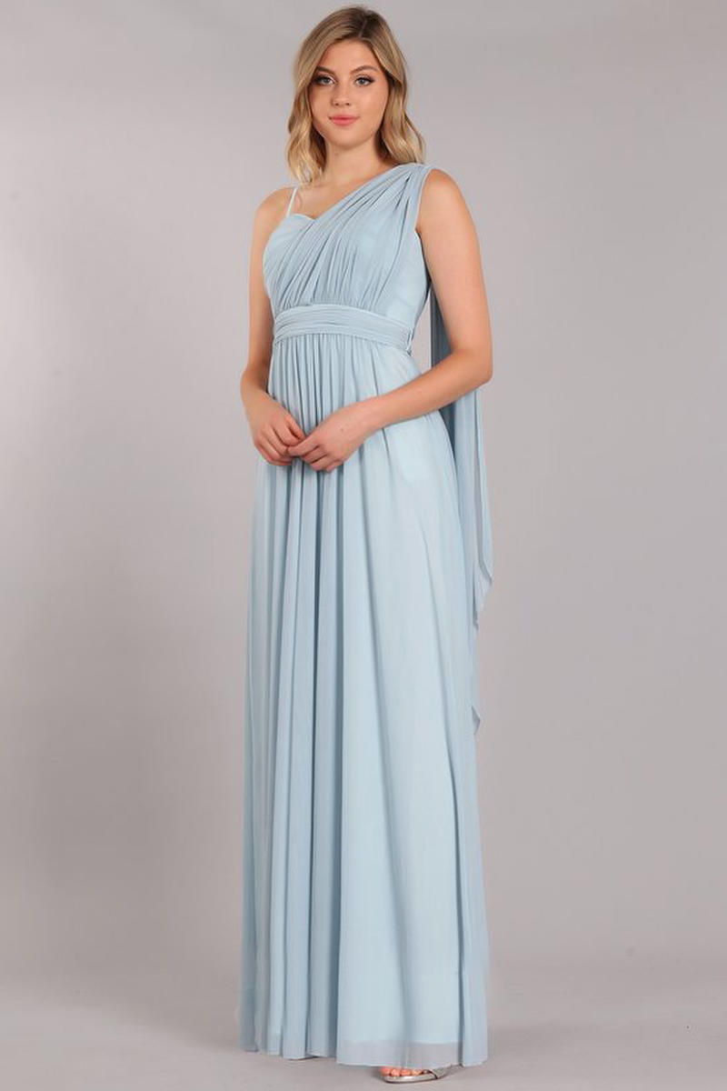 Fashion Eureka - Jersey Spaghetti Strap Pleated Bodice Gown