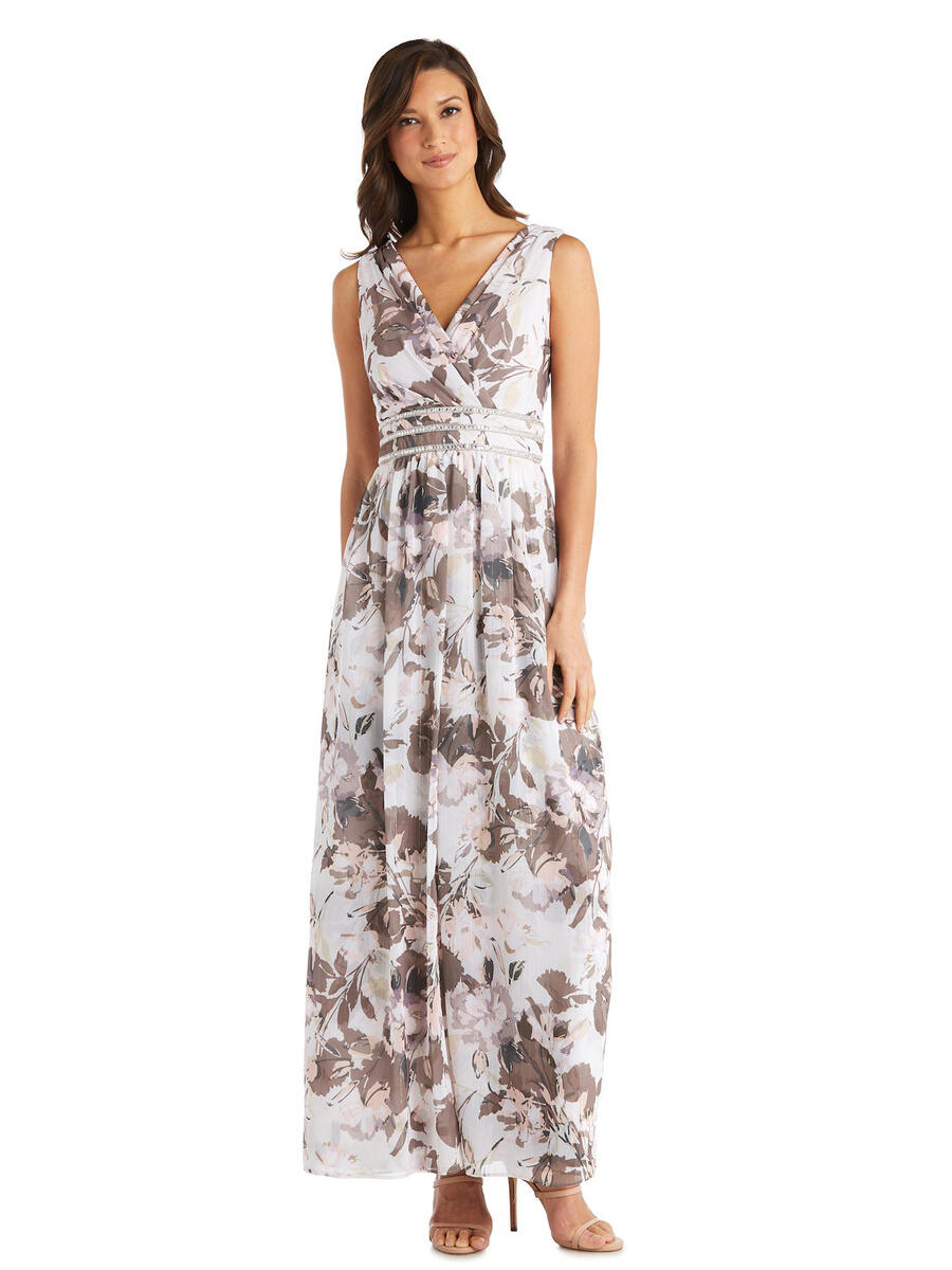 R & M Richards - Chiffon Metallic Print Gown