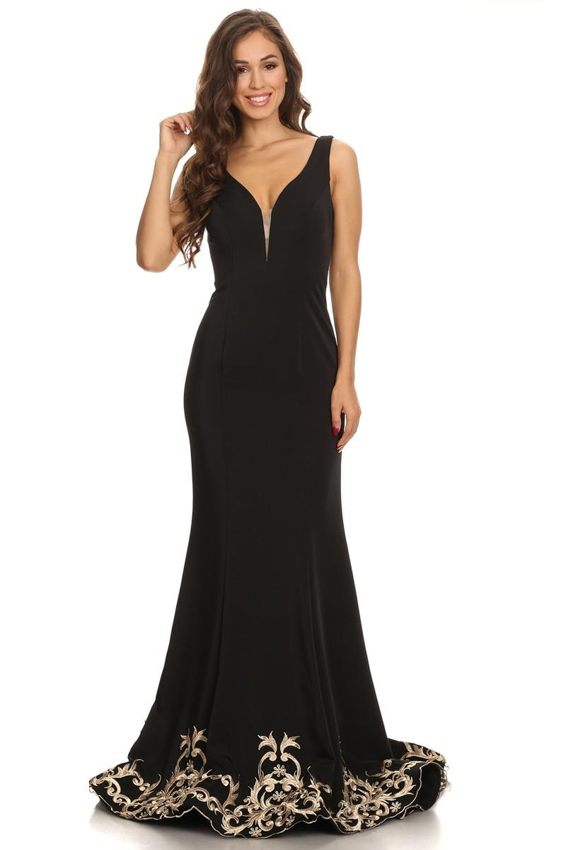 Fashion Eureka - Long Embroidered Hem Stretch Satin Gown