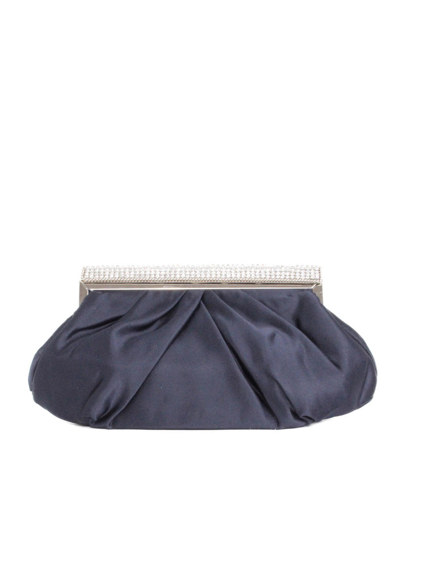 Pleated Satin Hard Frame Clutch