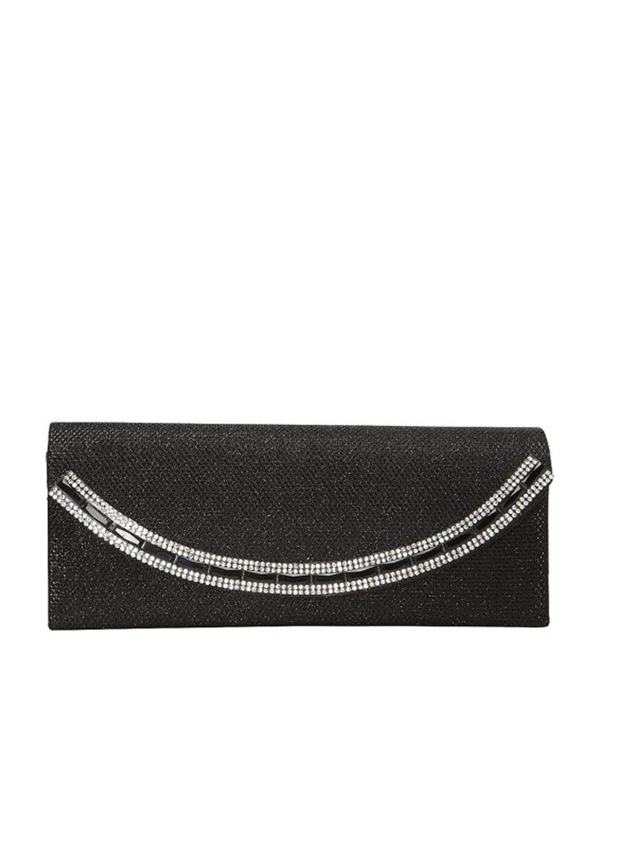 Crystal Border Glitter Flap Clutch