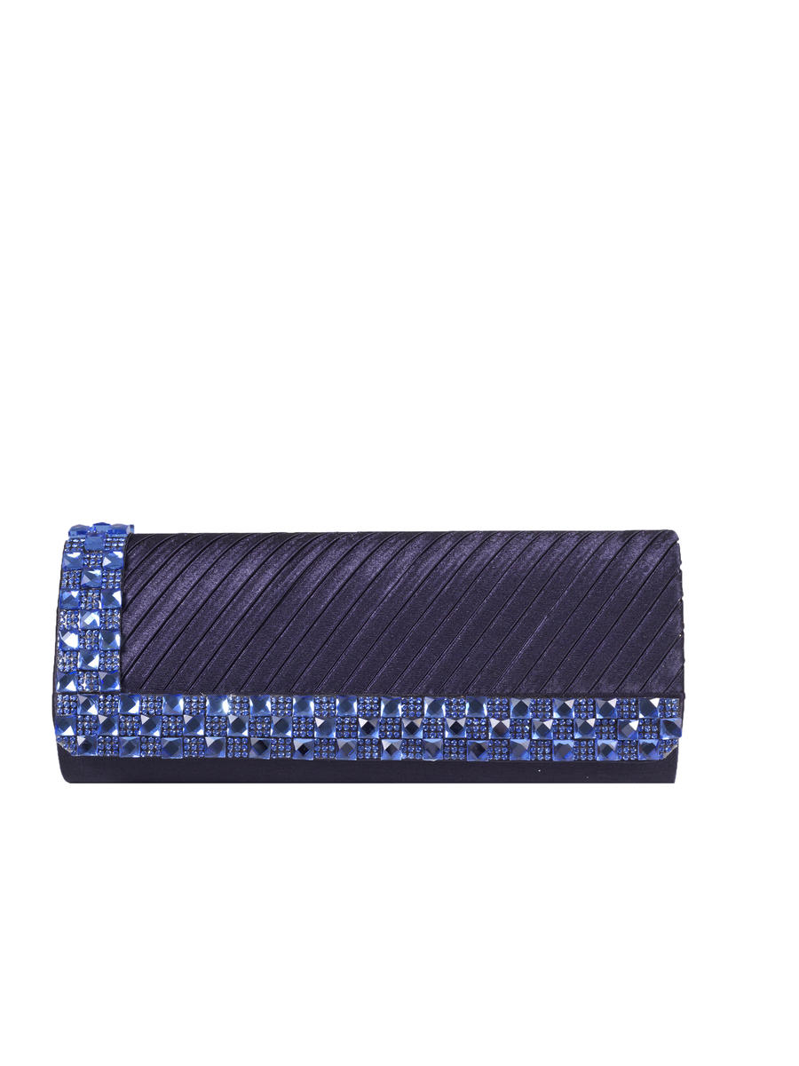 Long Pleated Rhinestone Deco Clutch