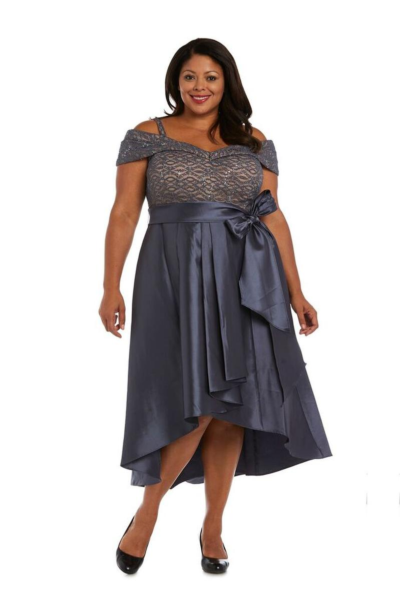 R & M Richards - Satin High Low Dress Off The Shoulder