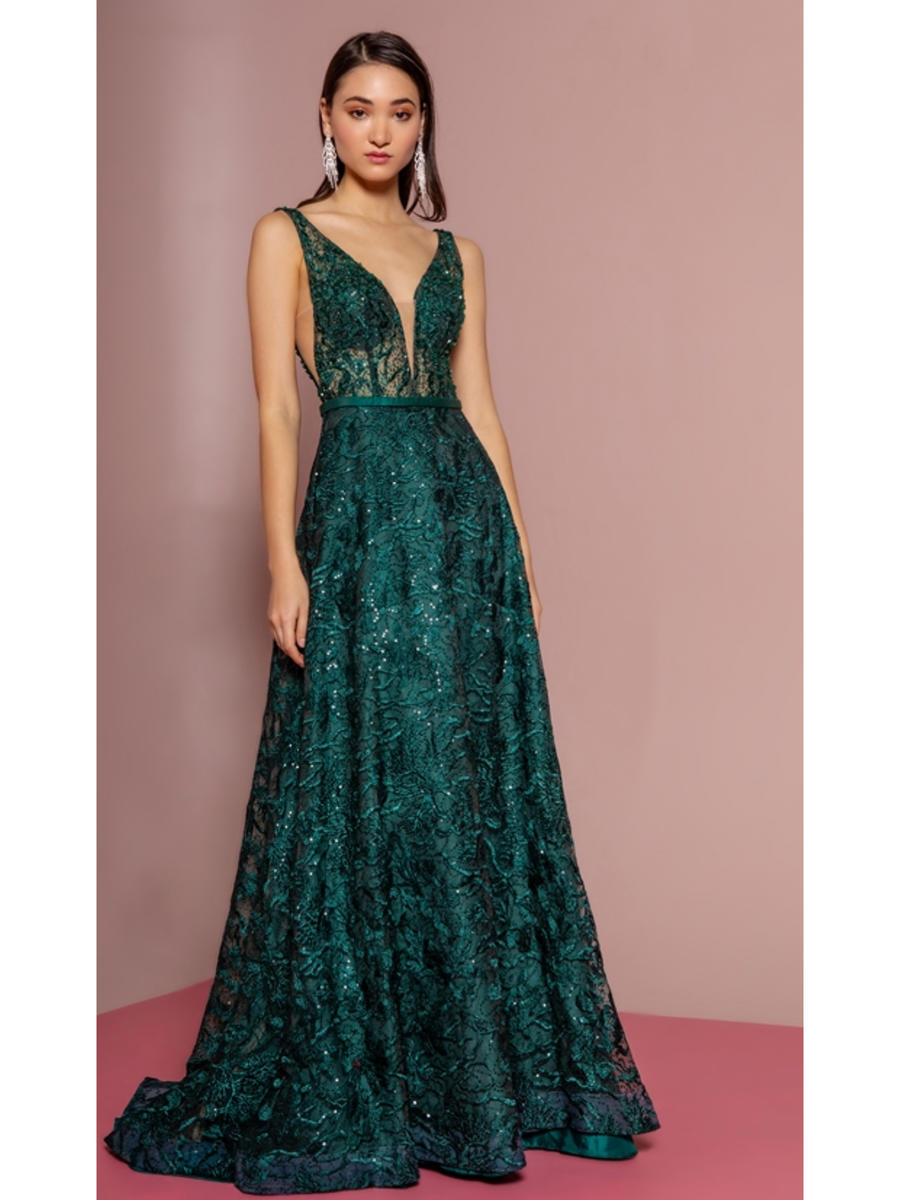 GLS APPAREL - Mesh Embroidered Beaded Bodice Gown
