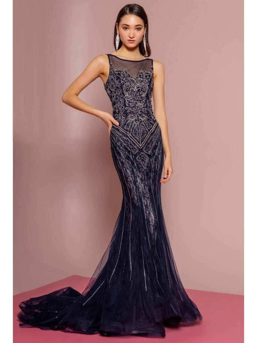 GLS APPAREL - Mesh Lace Beaded Gown