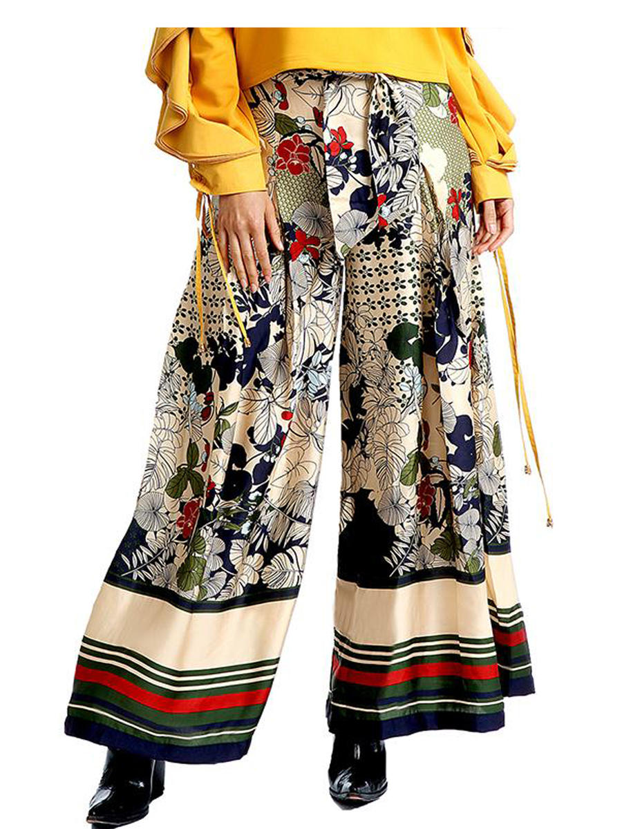 GRACIA FASHION LADIES APPAREL - Flower Printed Wide Pants