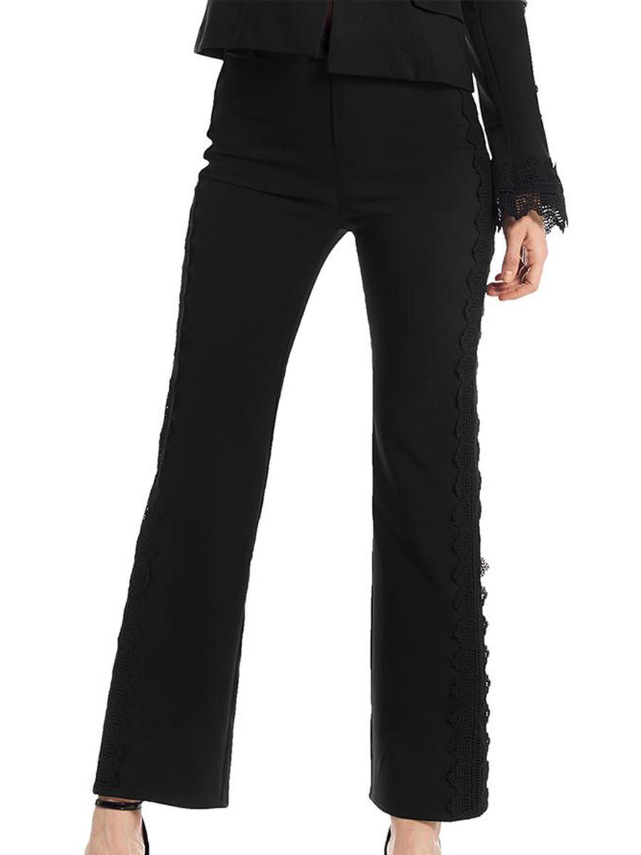 GRACIA FASHION LADIES APPAREL - Satin Pant-Embossed Trim P24029