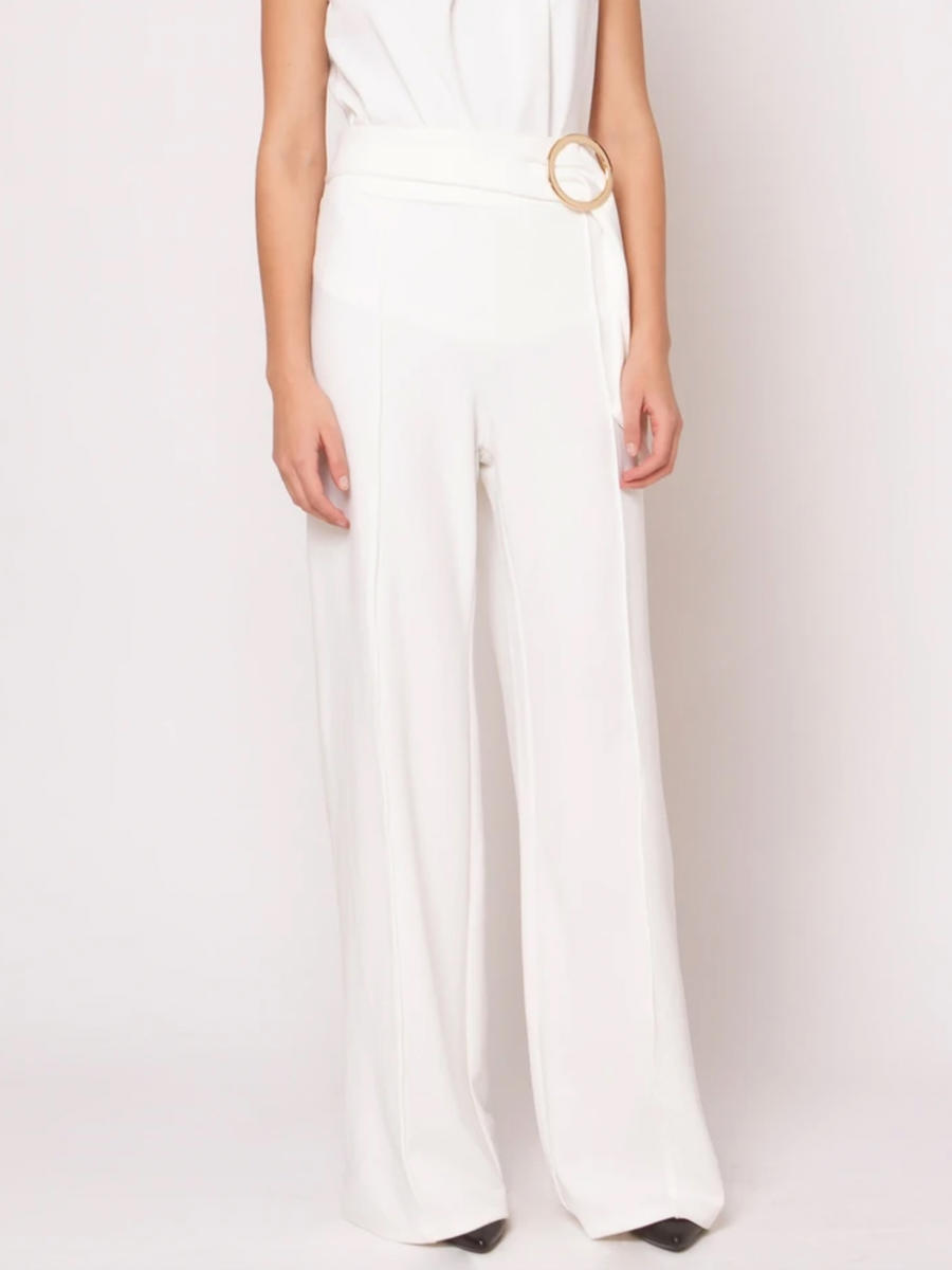 GRACIA FASHION LADIES APPAREL - Crepe Palazzo Buckle Waist Pants