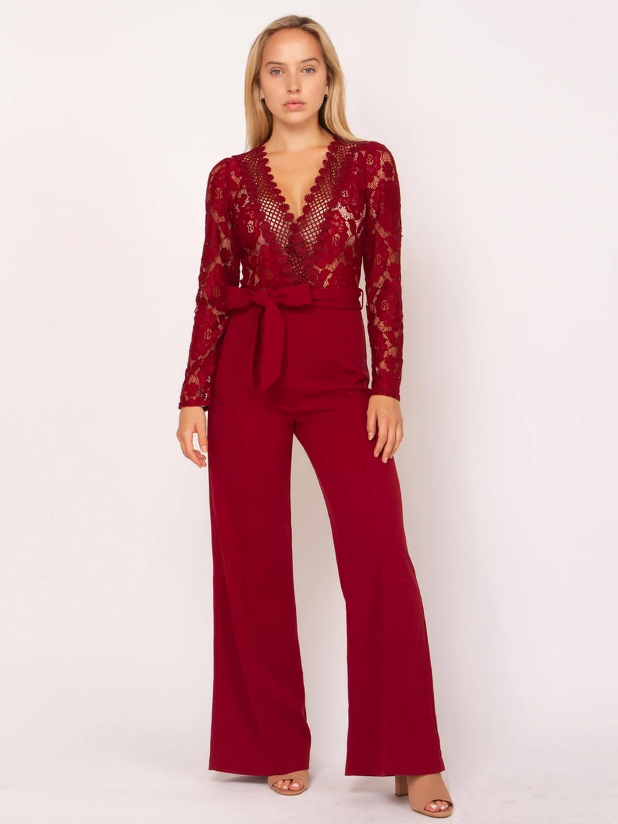 GRACIA FASHION LADIES APPAREL - Long Sleeve Embroidered Jumpsuit