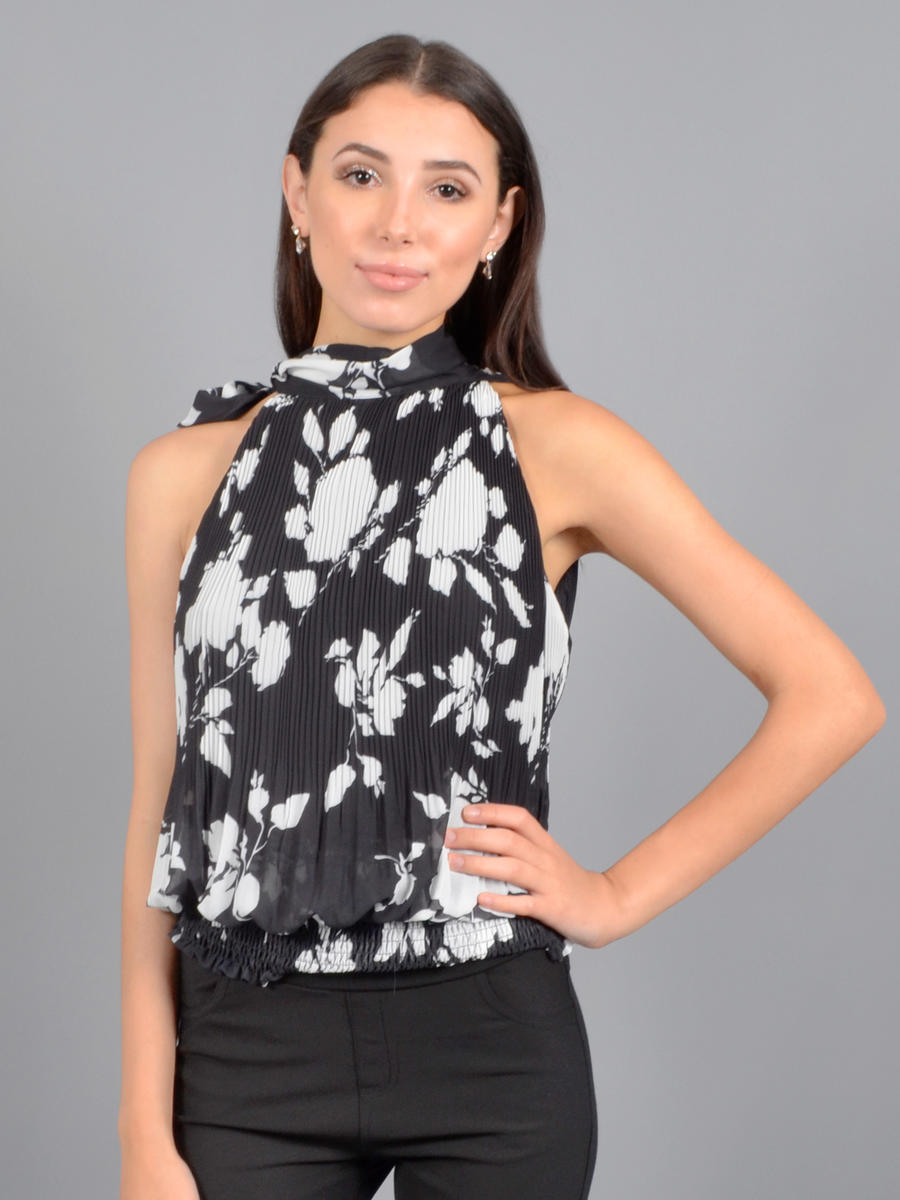 GRACIA FASHION LADIES APPAREL - Pleat Print Top T19797