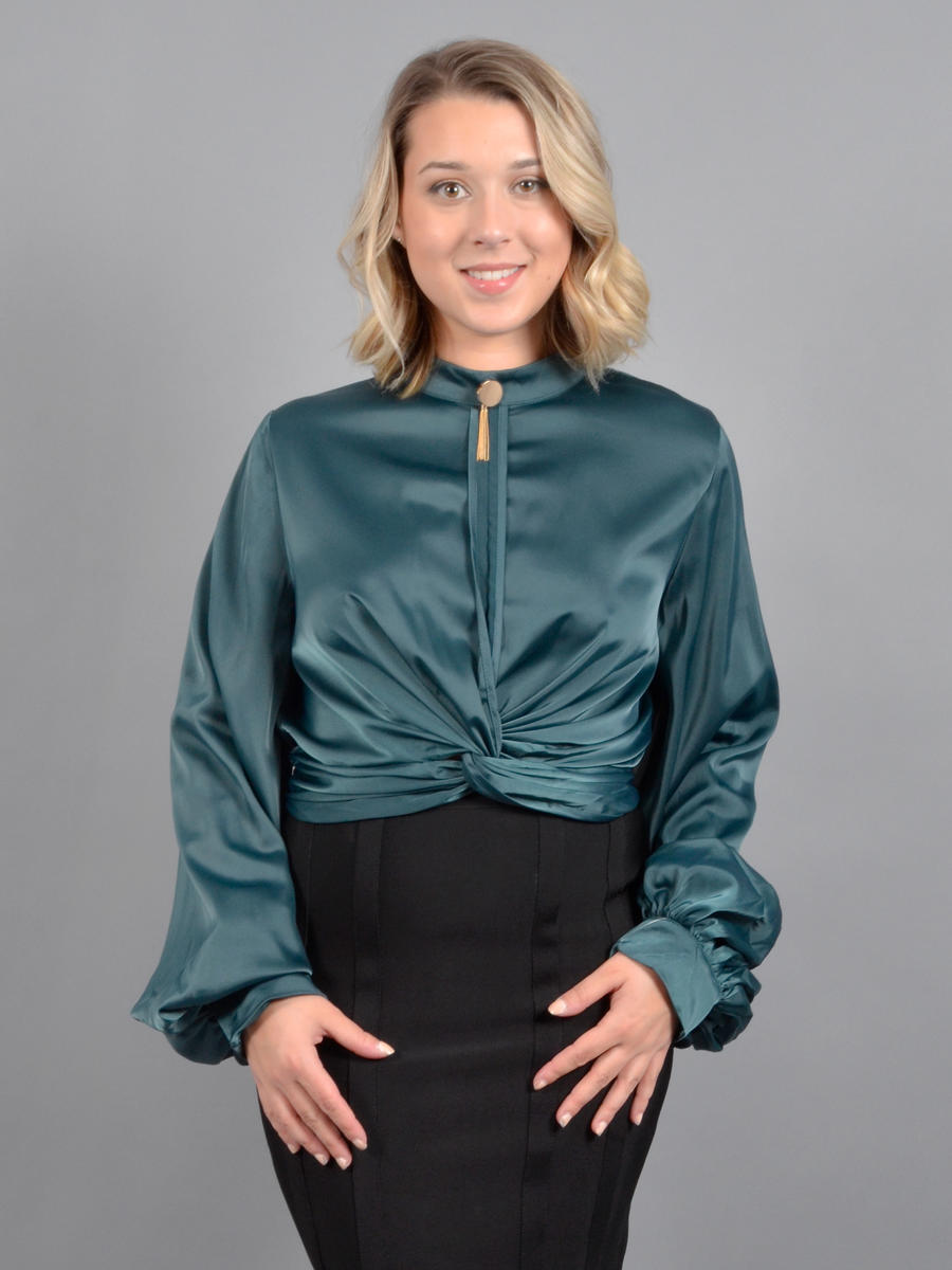 GRACIA FASHION LADIES APPAREL - Long Sleeve Satin Blouse
