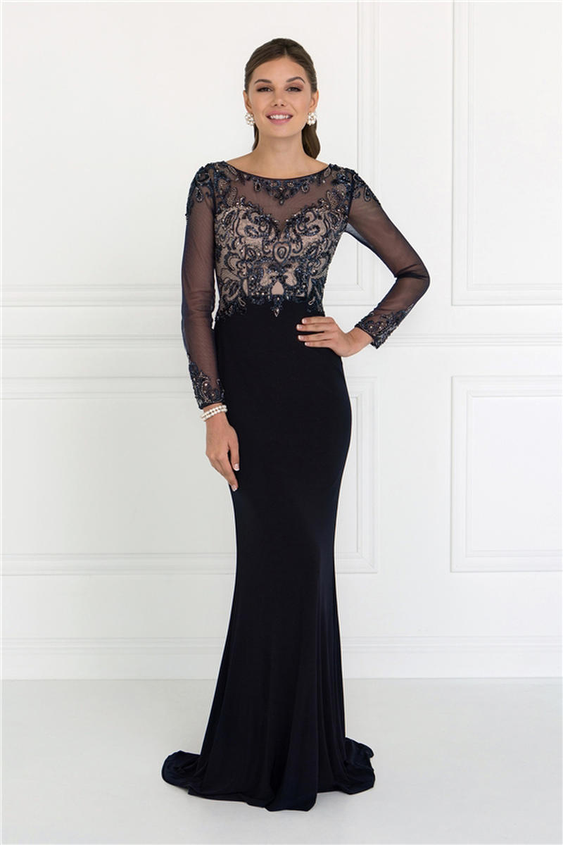 GLS APPAREL - Jersey Gown Beaded Bodice