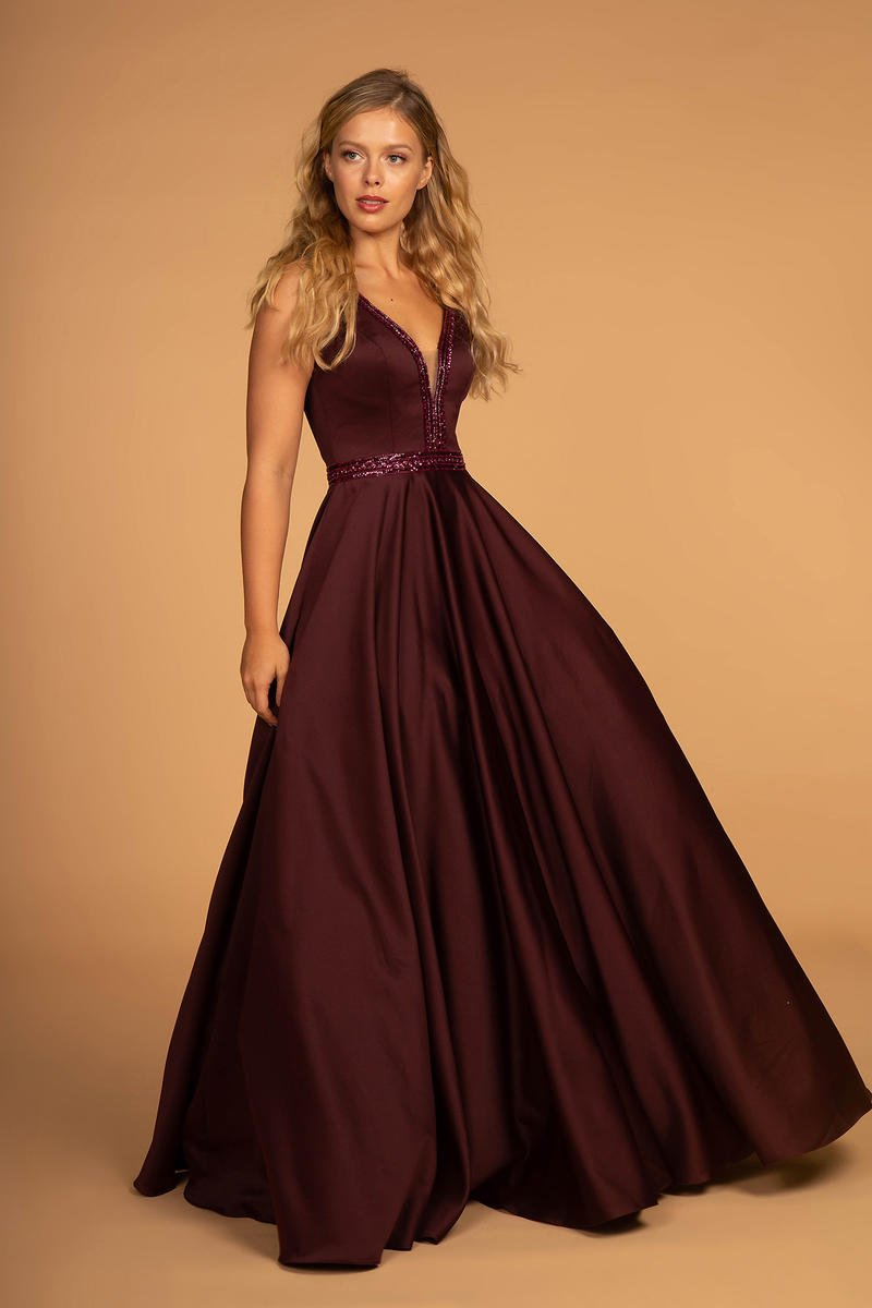 GLS APPAREL - Satin Gown Beaded Bodice