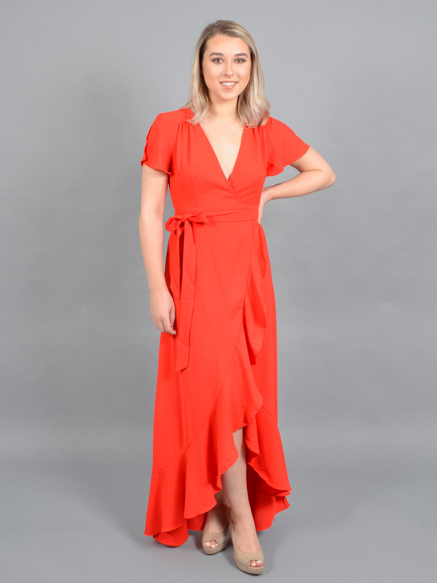 HASHTAG - Satin Wrap Dress-Ruffle Hem
