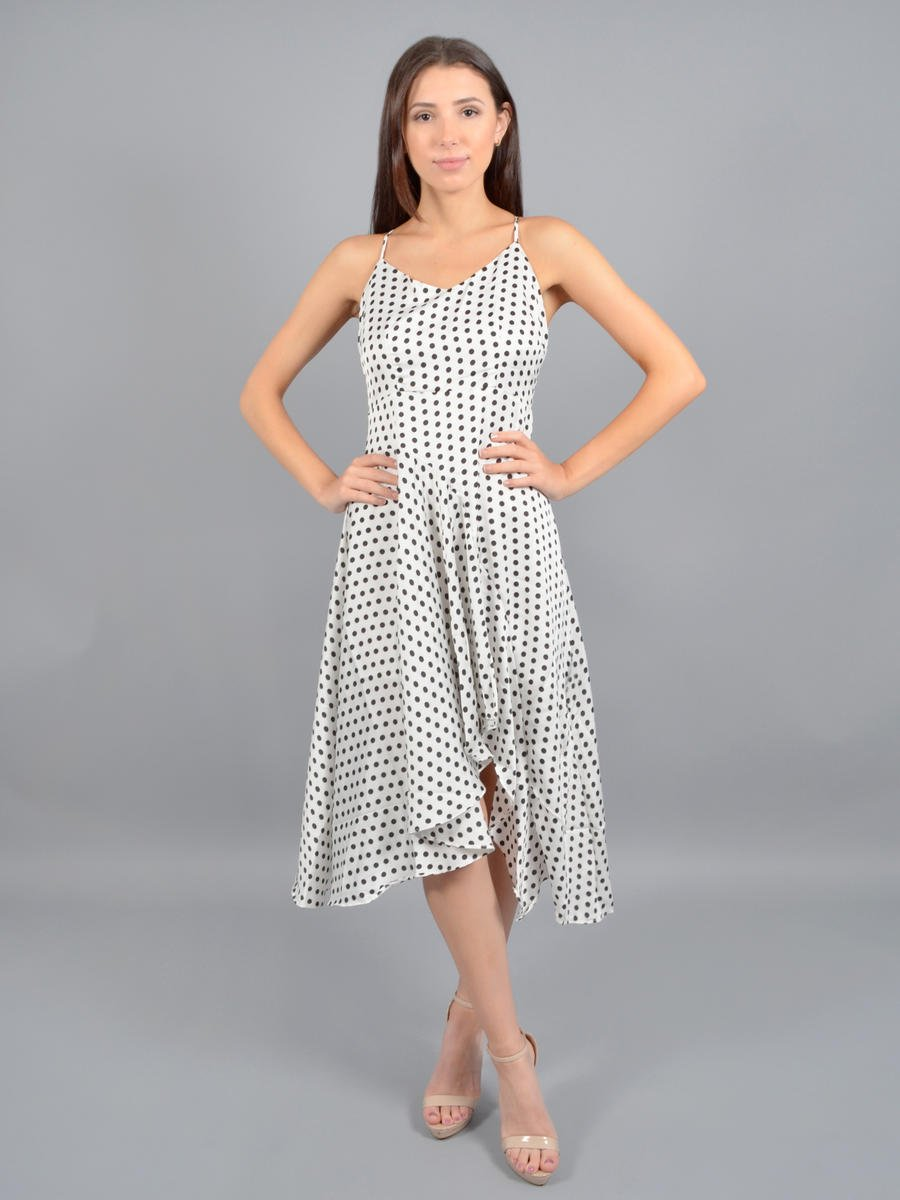 INA FASHION - Satin Polka Dot High Low Dress IDD75030