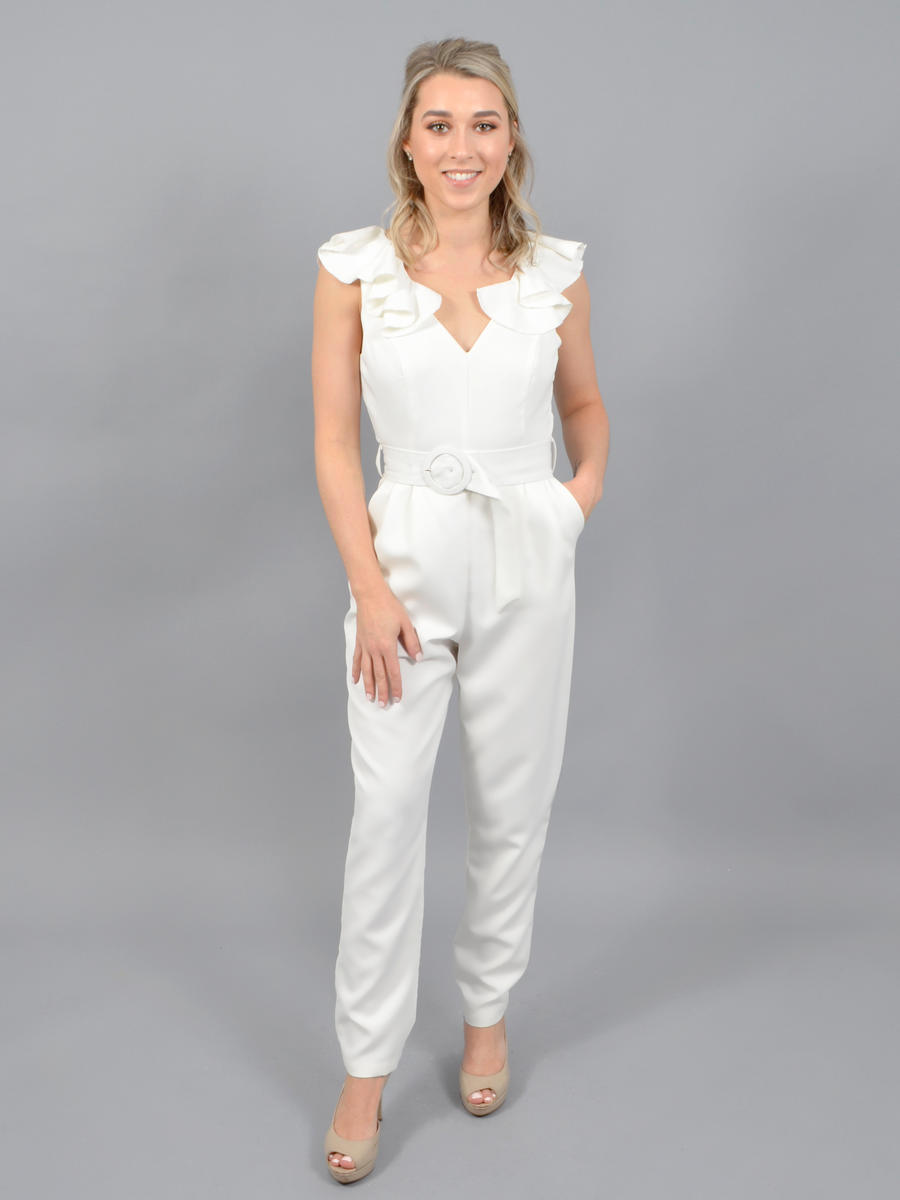 Idem ditto - Satin Jumpsuit-Ruffle V Neck