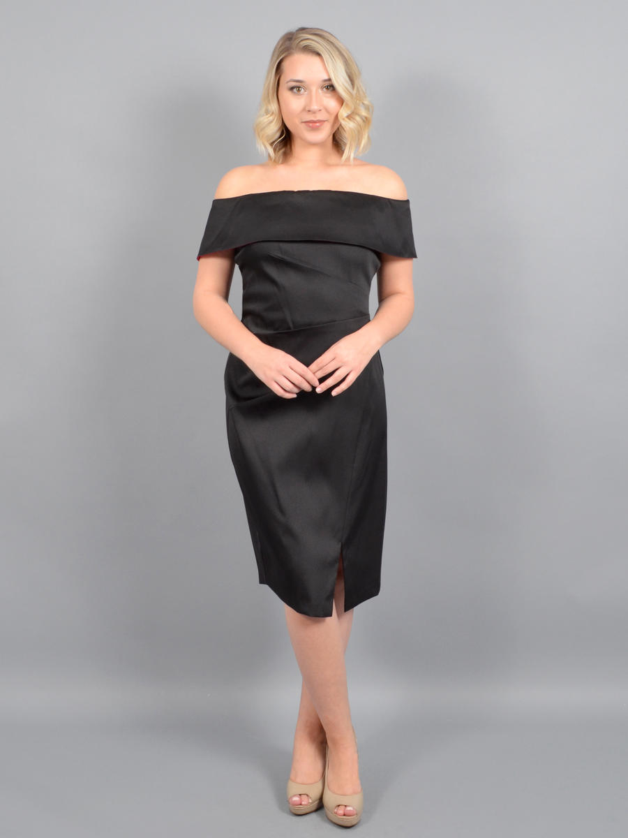 IGNITE EVENINGS - Satin Off Shoulder Dress-Draped Bodice