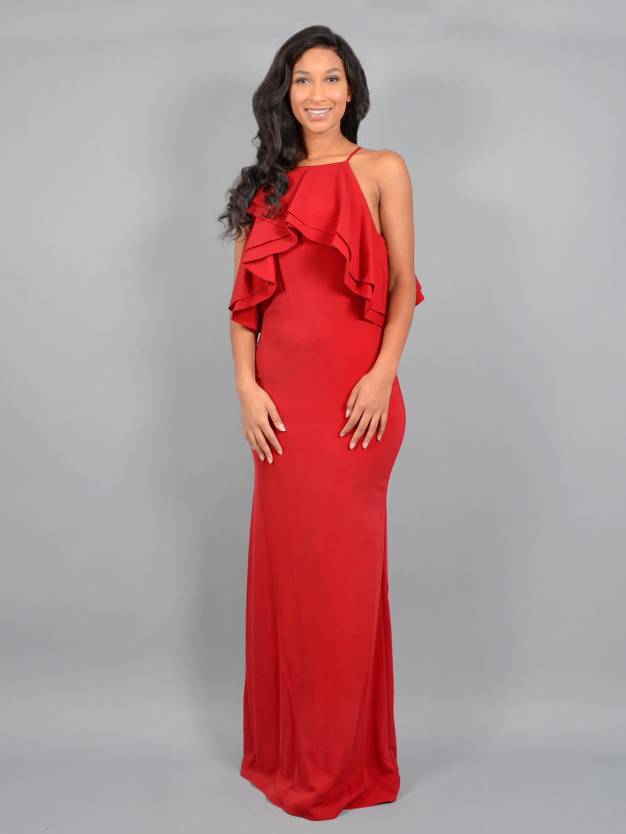 ISSUE (REGINE) - Satin Gown Draped Bodice Halter Neck