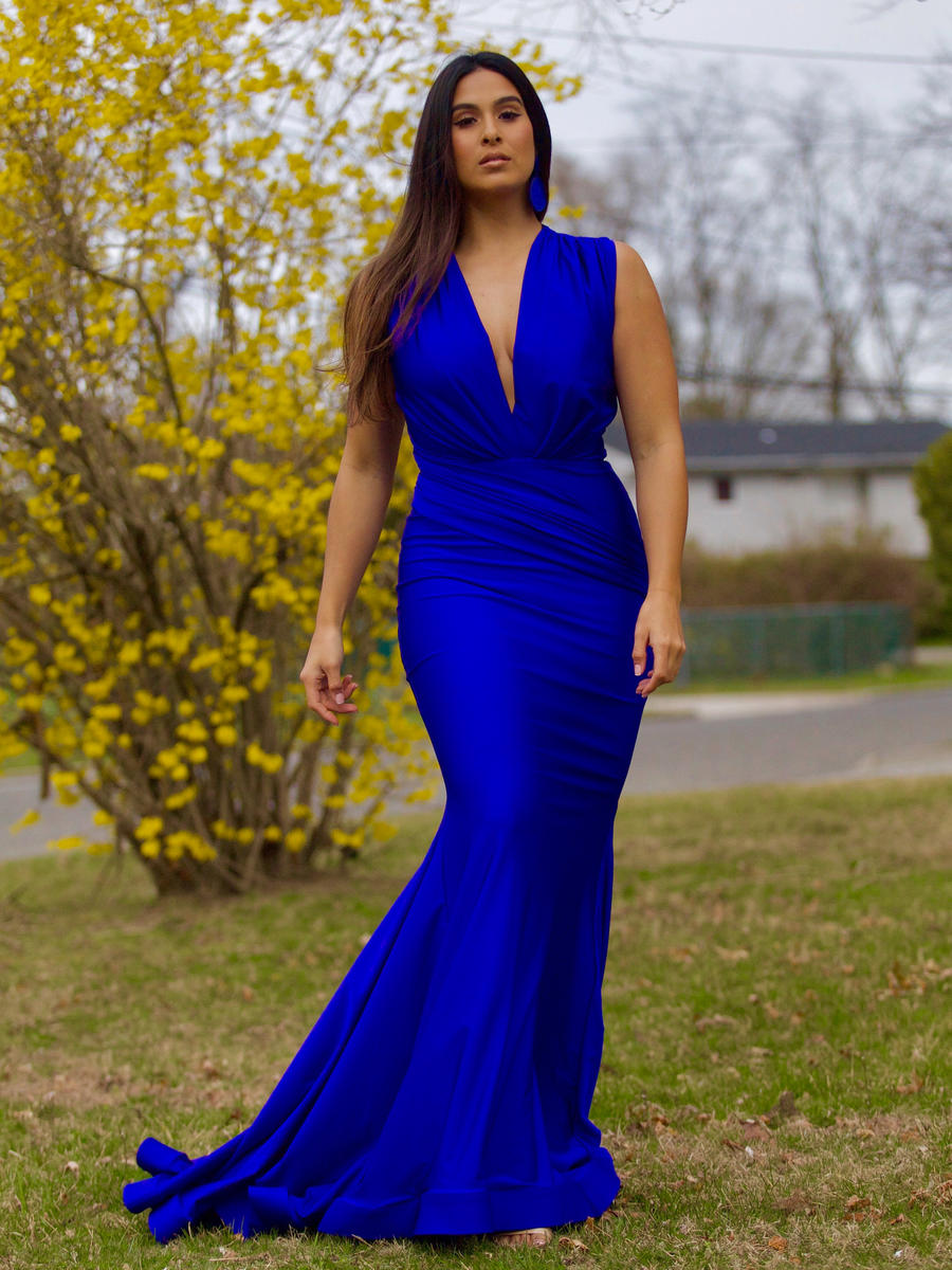 ISSUE (REGINE) - V-Neck Draped Trumpet Satin Gown