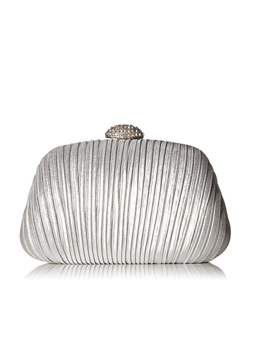 MUNDI Westport / Jessica McClintick - Metallic Pleated Hard Case Clutch