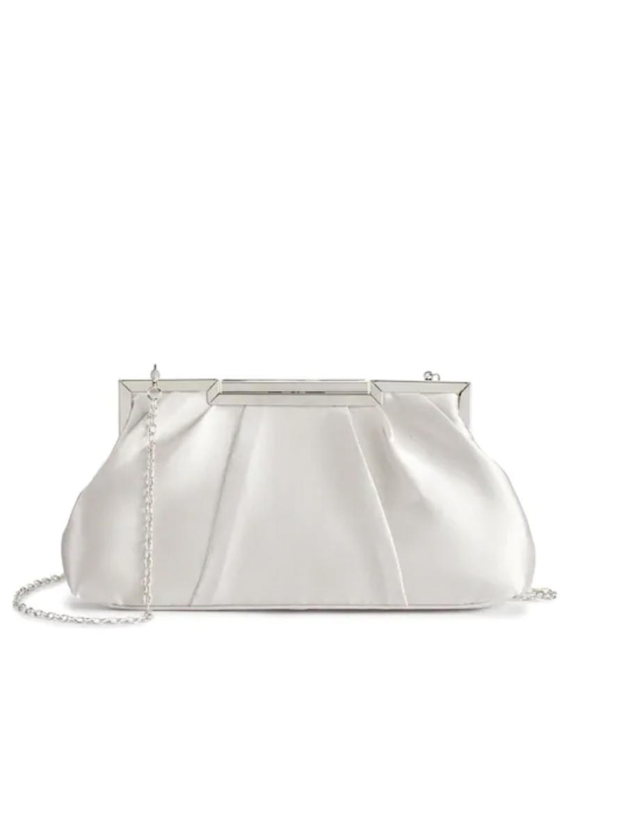 MUNDI Westport / Jessica McClintick - Satin Snap Lock Pleated Clutch