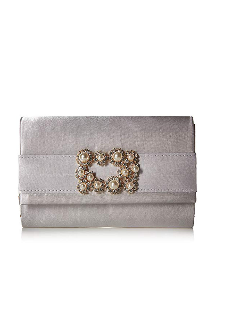 MUNDI Westport / Jessica McClintick - Satin With Pearl Buckle Clutch Evening Bag V41258