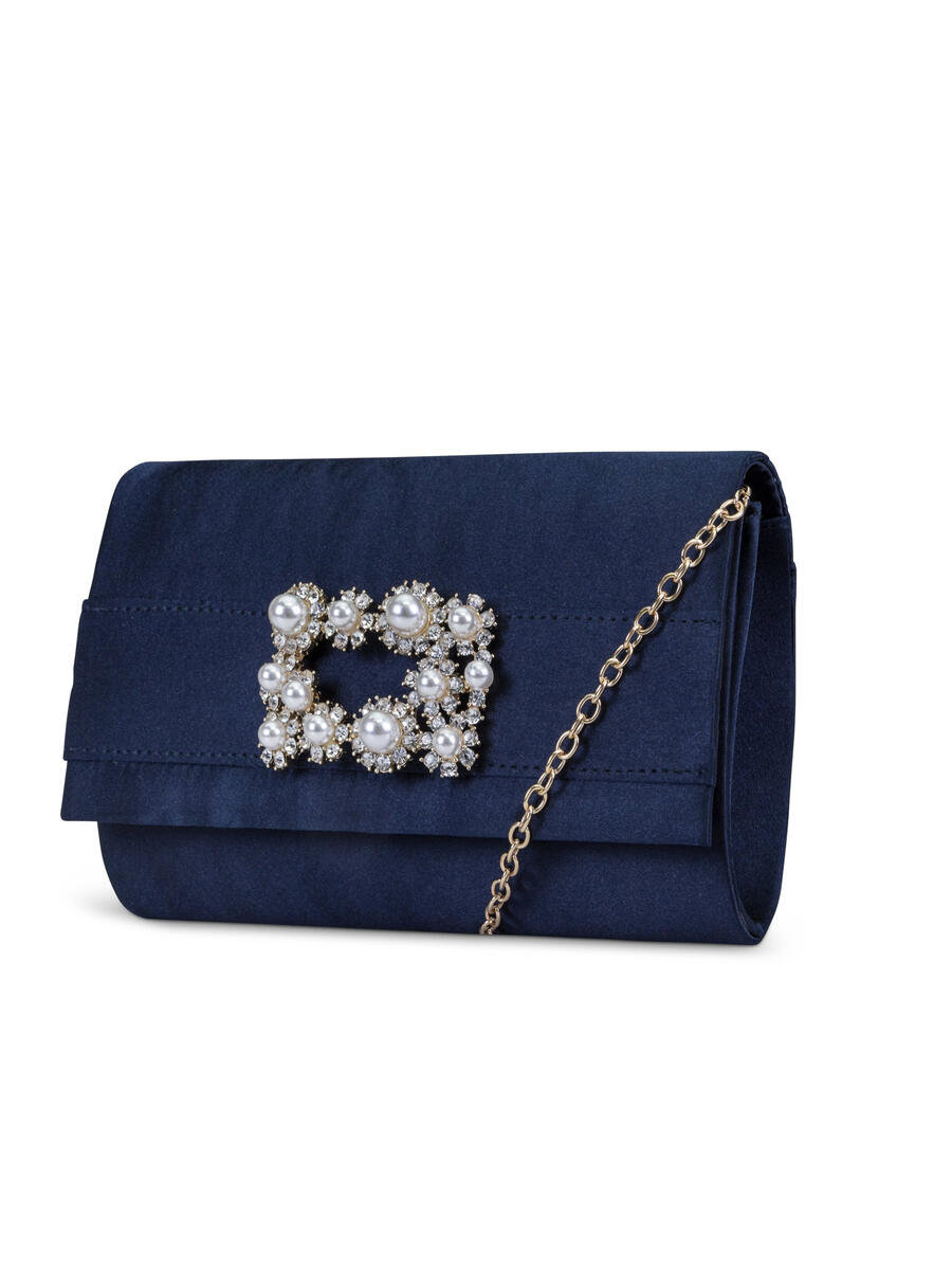 MUNDI Westport / Jessica McClintick - Satin With Pearl Buckle Clutch Evening Bag