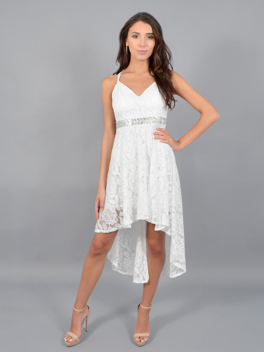 JBLA INC - Lace beaded Waist X Back High Low Dress